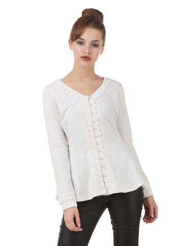 Texco Shimmery Button Placket Lace Detailing Winter Peplum Shrug