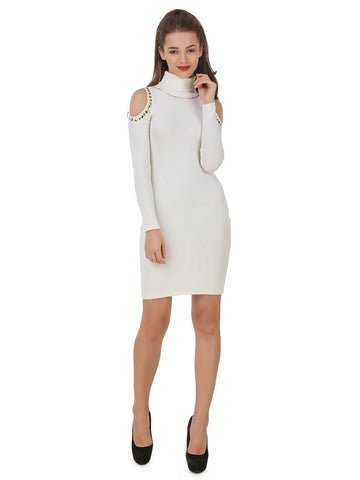 Texco Roll Neck Embellish Cold Shoulder Sleeve Winter Dress