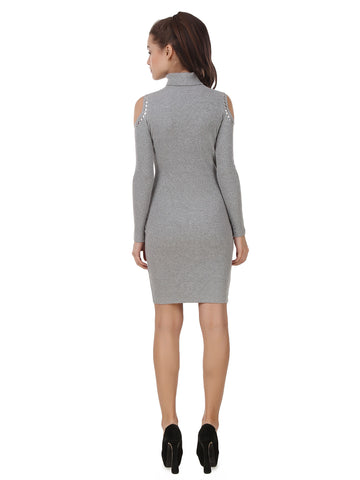 Texco Bodycon Roll Neck Embellished Cold Shoulder Sleeve Winter Dress