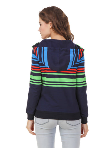 Texco Grey Multi Color Striped Light Breezy Sweatshirt