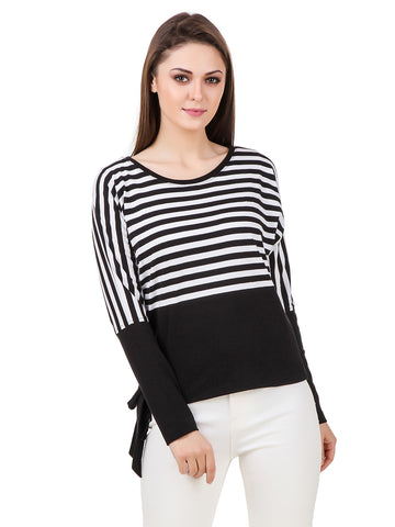Texco Striped Side Knot Dolman Full Sleeves Top