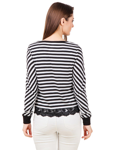 Texco Black & White Striped High-Low Lace Inserted Hemline Top