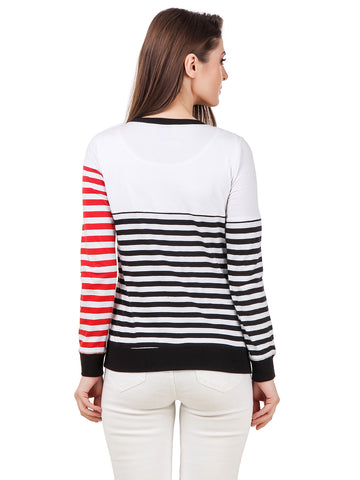 Texco Color Block Striped Round Neck Sporty Look Smart Casual Tee