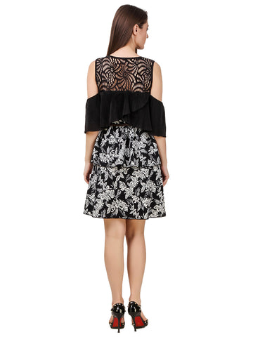 Texco Cold Shoulder Printed Tiered Dress With Belt