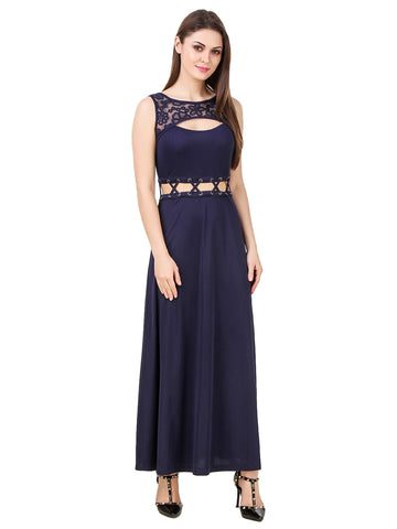 Texco Lace Cut Out Crew Neck With Tie Up Waist Detailing Evening Dress