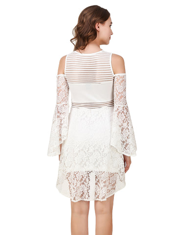 Texco Cut-Out Shoulder Volume Full Sleeve Lace Party High-Low Layered Skater Dress