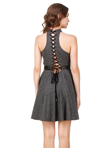 Texco Melange Grommets & Leather Detailing Stylish Tie-Knots Back Skater Party Dress