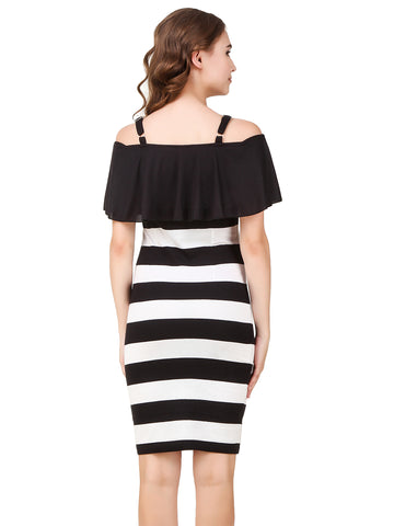 Texco Striped Off Shoulder with Adjustable Strap Ruffled Bodycon Party Dress