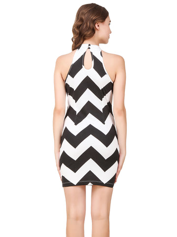Texco Chevron Print Bodycon Party Dress