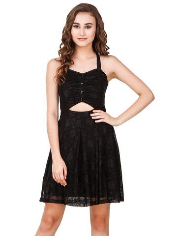 Texco Black Cut-Outs Detailing Stylish Bow Back Lace Embellished Party Skater Dress