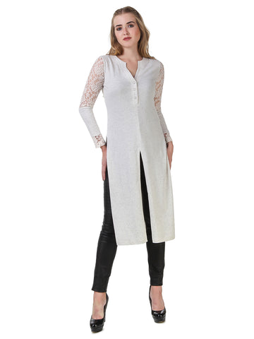 Texco Self Textured Front Button Placket Long-line Side Slit Maxi Top