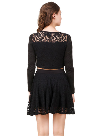 Texco Lace Crop Top & Flared Skirt (Co-Ords) Two Piece Dress