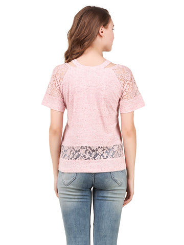 Texco Self Textured Lace Sheer Detailing Cut Out Neck Trendy Top