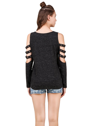 Texco Self Textured Cut-Outs Grommets Embellished  Detailed Long Sleeves Stylish Top