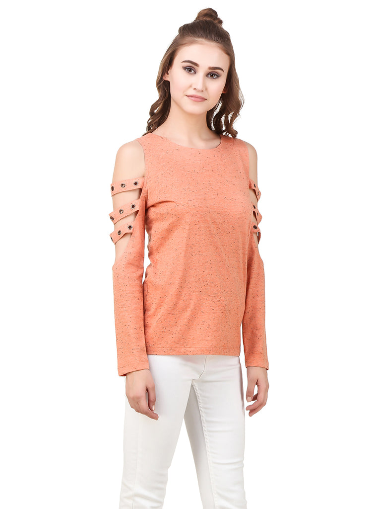 b624ac1b2 ... Texco Self Textured Cut-Outs Grommets Embellished Detailed Long Sleeves  Stylish Top ...