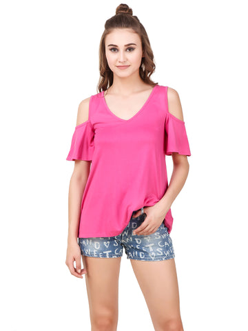 Texco 'V' neck Cut-out Shoulder Flutter Sleeves Top