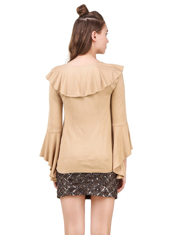 Texco Ruffled Front Tie-knot Shrug