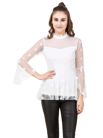 Texco Women's Sheer Lace Peplum Party Top