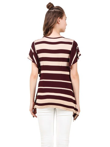 Texco Women's Stripe Butterfly Sleeve Drawstring Neckline Stylish Trendy Top