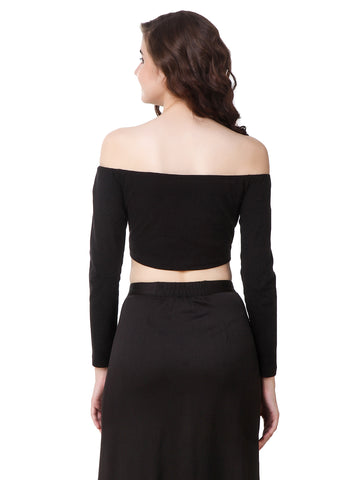 Texco Black Off Shoulder Long Sleeve Crop Top
