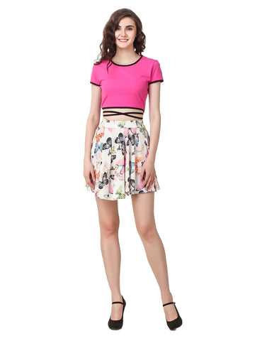 Texco Co-ords 2 Piece Dress Side Draw Strings Crop Top & Skirt