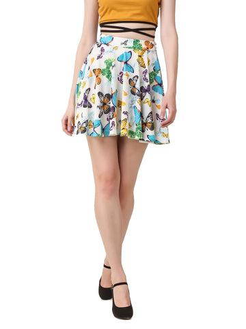 Texco Butterfly Printed Skater Skirt