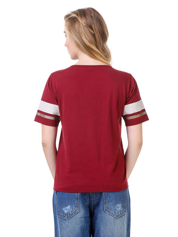 Texco Round Neck Smart Casual Embellished T-Shirt