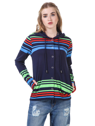 Texco striped Hooded Smart Casual Cardigan/Shrug