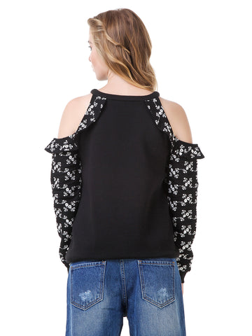 Texco Cold Shoulder Embroidered Sweatshirt