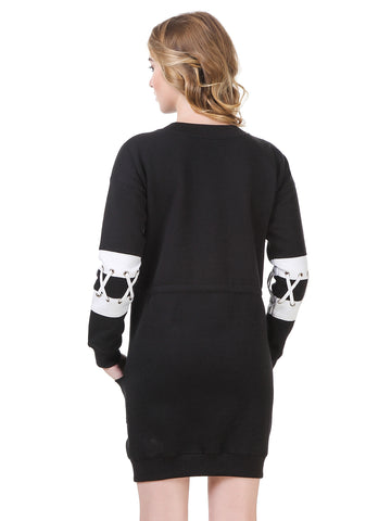 Grommets Detailed Drop-Waist Winter Jumper Dress