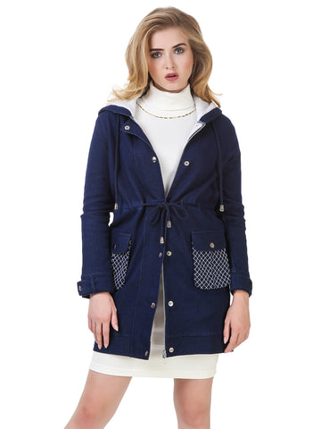 Texco Denim Quilted Embroidered Long line Jacket