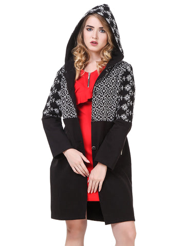 Texco Embroidered Hooded Party Longline Coat