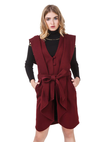 Texco Open Front Waist Belted Sleeveless Longline Waterfall Coat