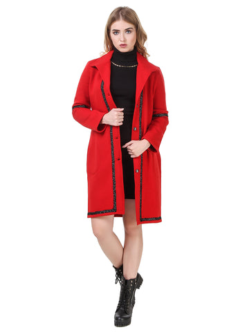 Texco Longline Lace Detailed Lapel Collar Party Coat
