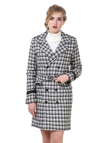 Texco Check Belted Detailed Double Breasted Party Coat