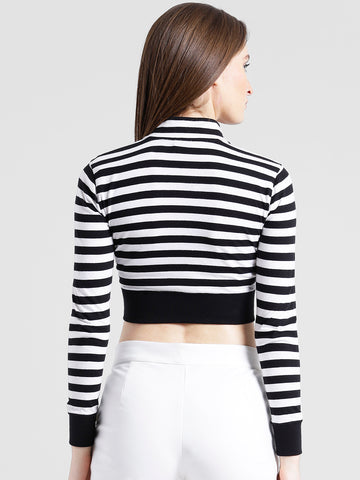 Texco Women Black & White Striped Crop Top