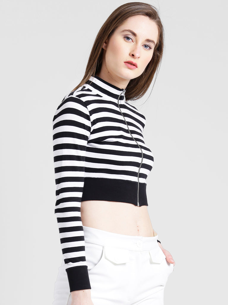 03da99ba2ff10 Texco Women Black   White Striped Crop Top – texcocasuals.com