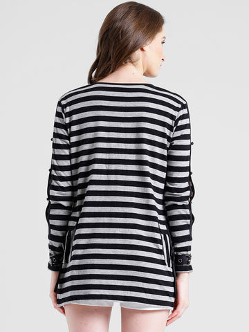 Texco Women Grey & Black Cotton jersey Round neck Fashion sleeve Striped Shrug