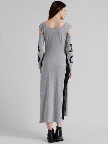 Texco Women Grey Typography Printed Maxi Top