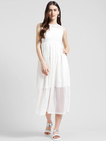 Texco  Women Off White Lace Maxi Dress