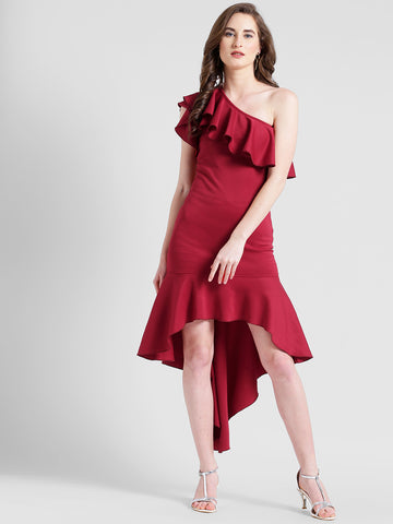 Texco Women Burgundy Polyester lycra One shoulder Solid Dress