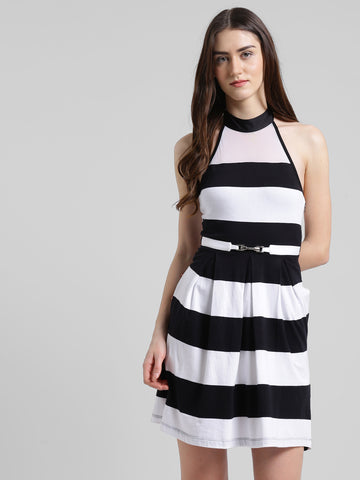 Texco Women Black & white Striped Back Style Fit & flare Dress