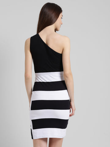 Texco Women Black & white Striped Bodycon Dress