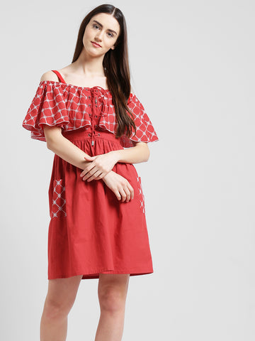 Texco Women Red & white Embroidered Gathered Dress