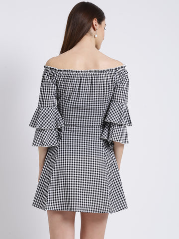 Texco Women Black & white Checked Fit & flare Dress