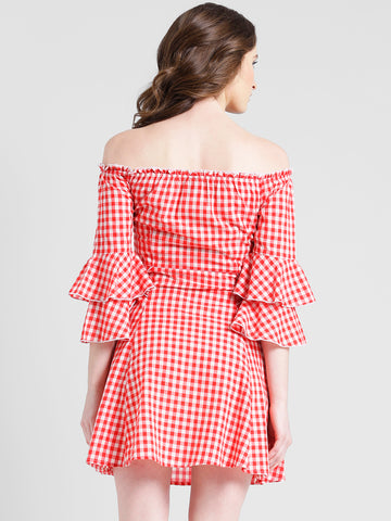 Texco Women Red & white Checked Fit & flare Dress