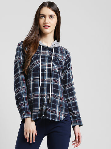 Texco Women Navy & grey Checked Boxy  Shirt