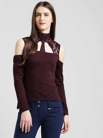Texco Women Wine Embellished Asymmetric Top