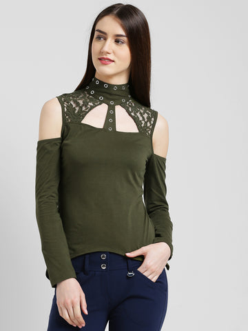 Texco Women Olive green Embellished Asymmetric Top