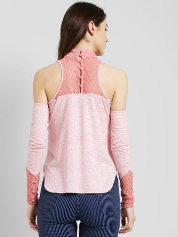 Texco Women Pink Solid Cold shoulder Top